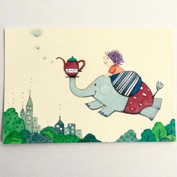 空飛ぶ子どもと動物-Strawberry Tea-