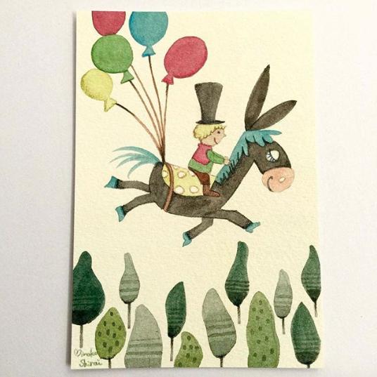 飛ぶ子どもと動物-飛べ飛べロバくん!--1