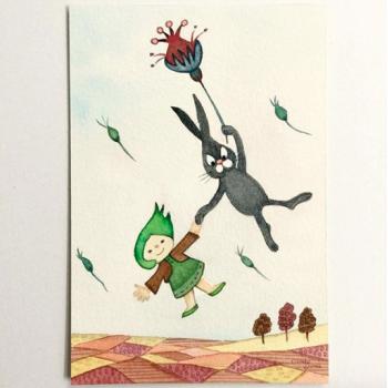 空飛ぶ子どもと動物-クロうさぎとはっぱちゃん-