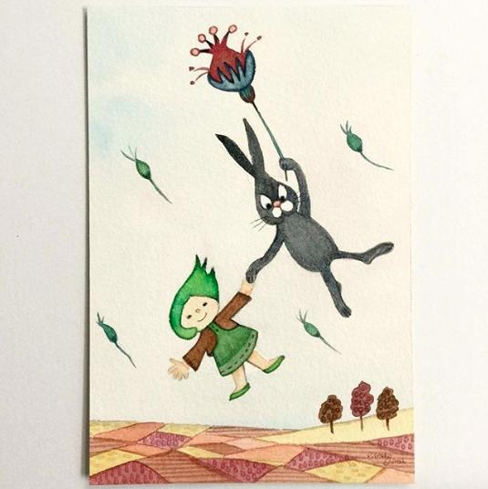 空飛ぶ子どもと動物-クロうさぎとはっぱちゃん--1