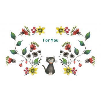 [名刺サイズ] メッセージカード10枚セット (猫と花)