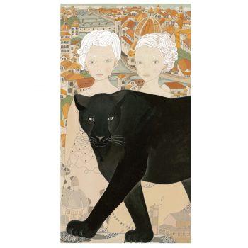 双子の女の子と黒豹