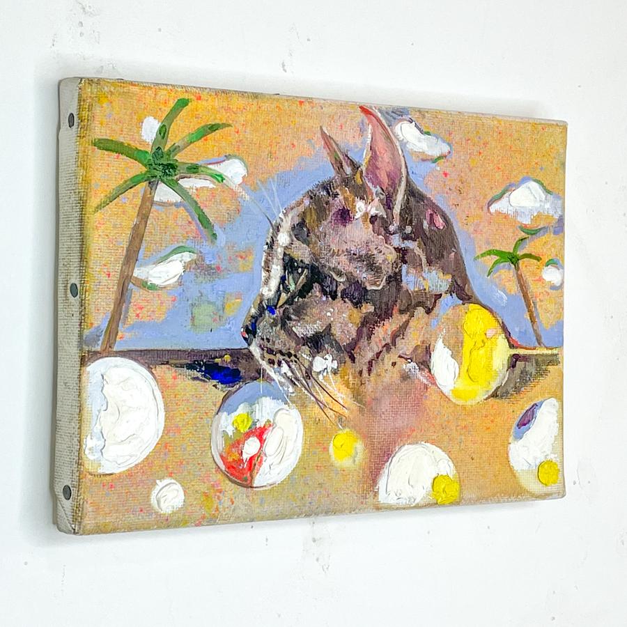 横顔猫(油画)-3