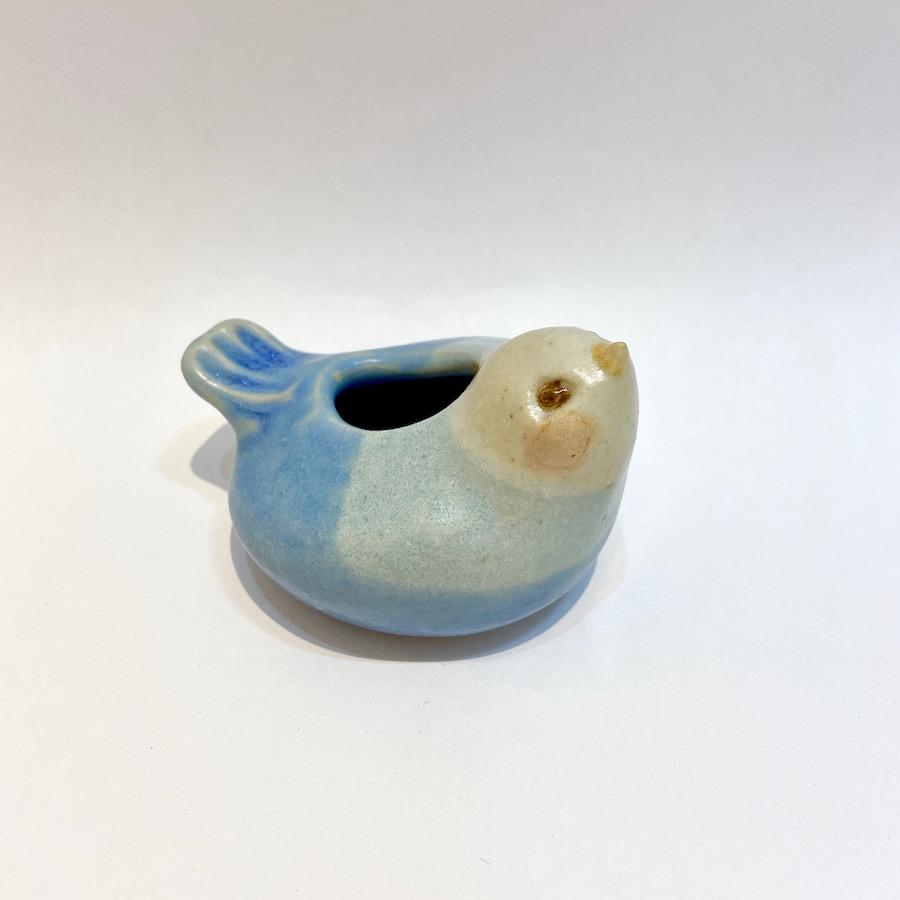 青いコトリの花いれ-1