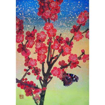 紅梅と赤立羽