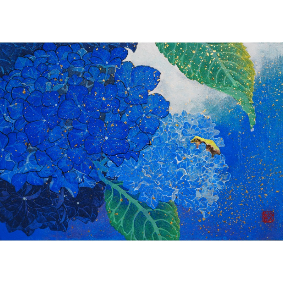 紫陽花と雨蛙-1