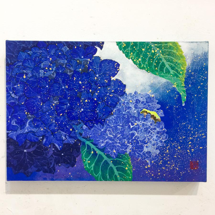 紫陽花と雨蛙-3
