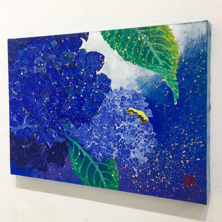 紫陽花と雨蛙-4