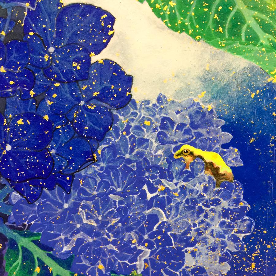 紫陽花と雨蛙-6