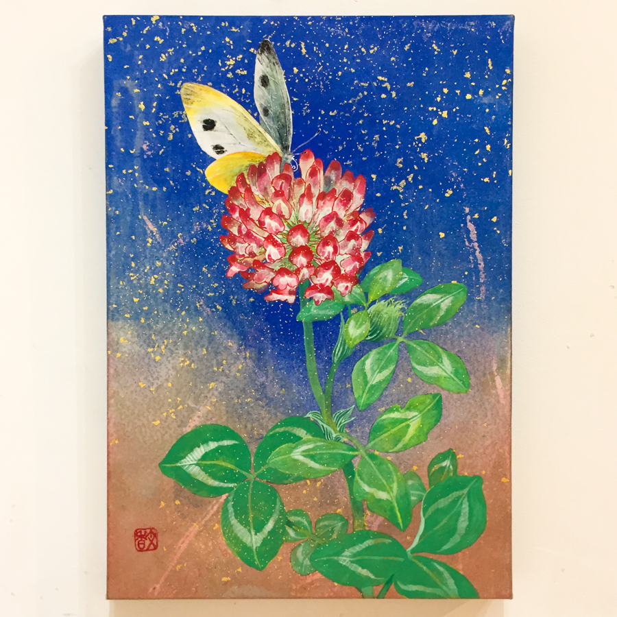 赤詰草と紋白蝶-2