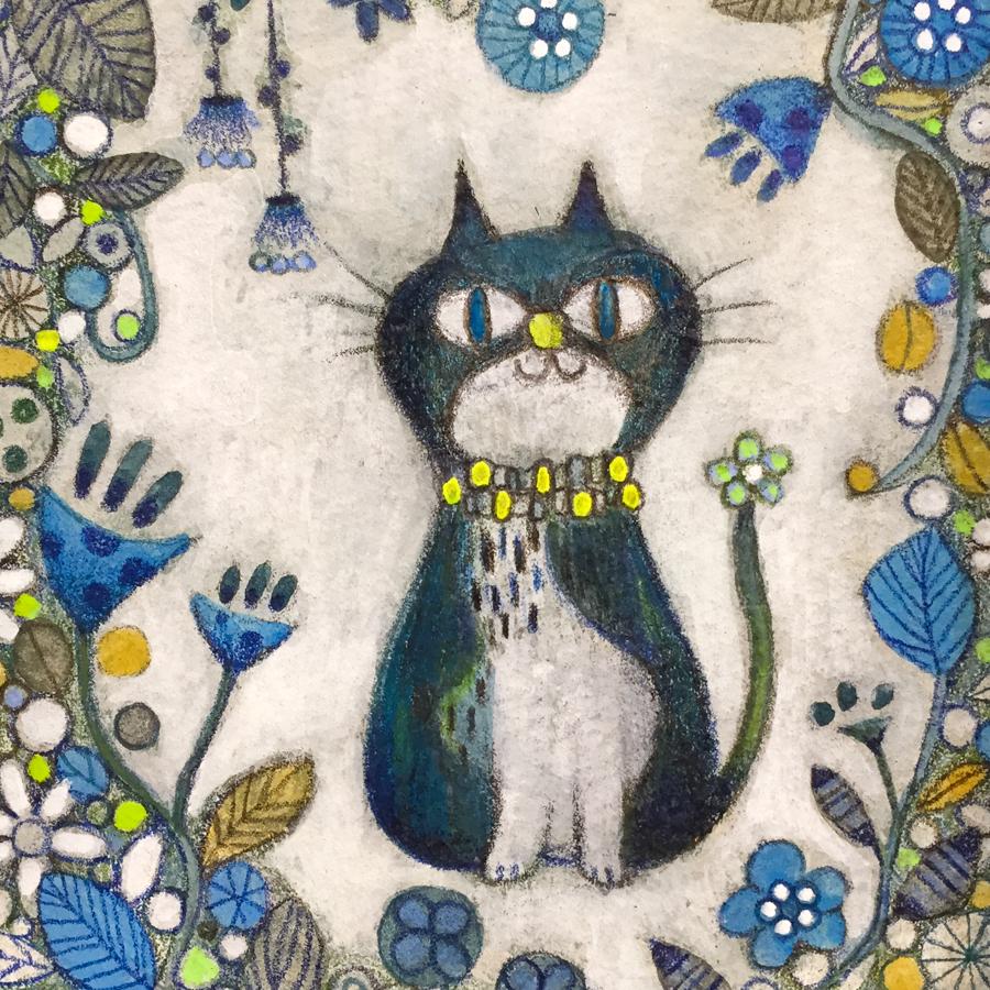 原画「ネコとおはな」-4