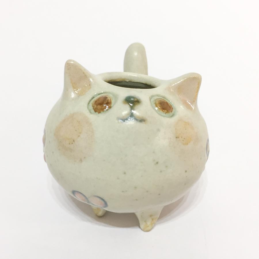 まんまるネコの花いれ-1